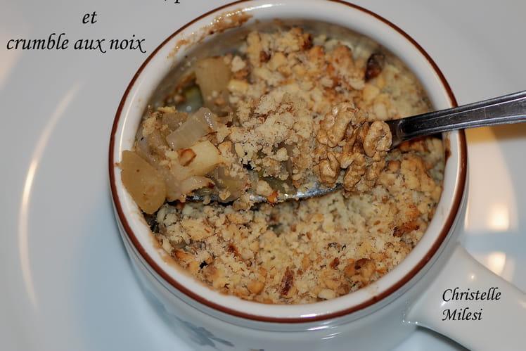 Cassolette d'endives, pommes et crumble aux noix