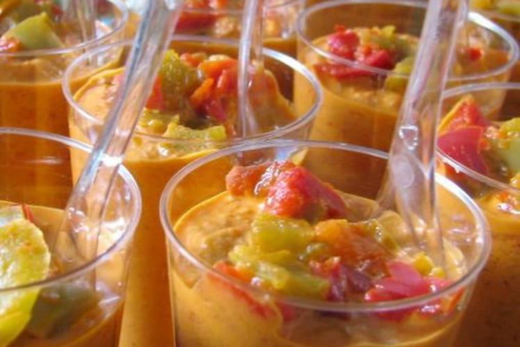 Verrines poivrons, mascarpone et piment d'Espelette