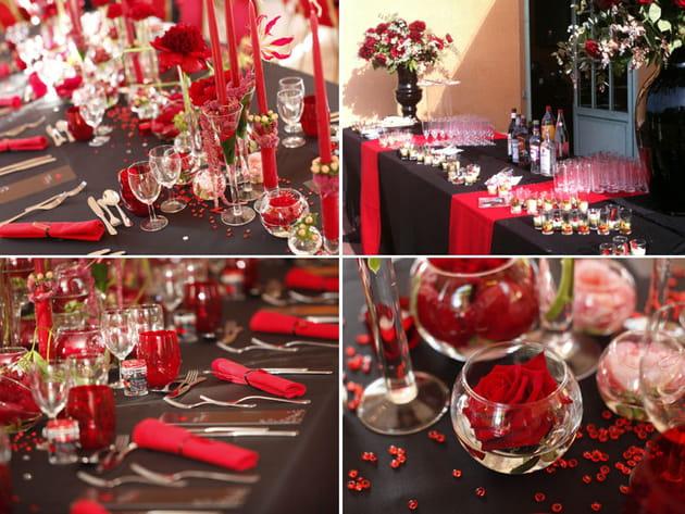 decoration mariage noir et rouge
