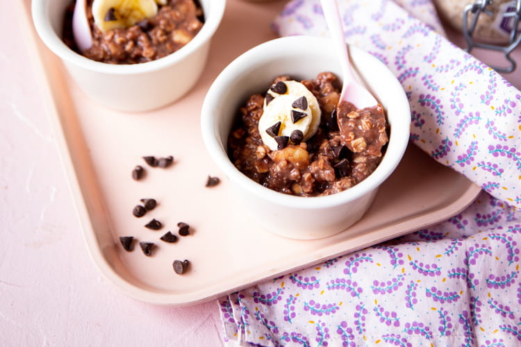 Croissance bowl porridge banane chocolat