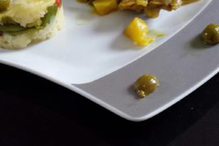 Poulet aux olives en tajine, écrasé de pomme de terre aux légumes