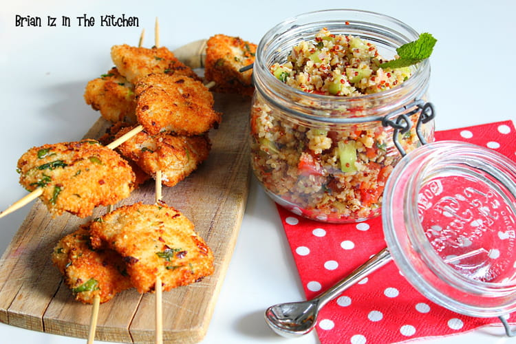 Brochettes de merlan pané à la menthe et aux agrumes et taboulé de quinoa
