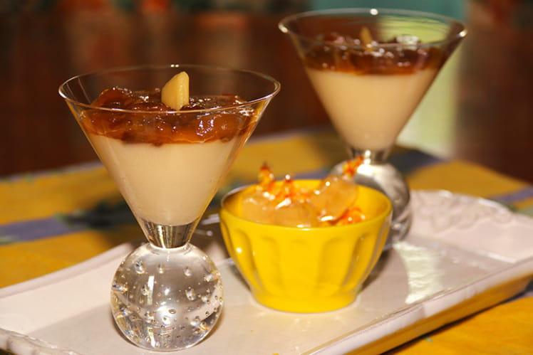 Panna cotta bergamote et compote de mirabelles