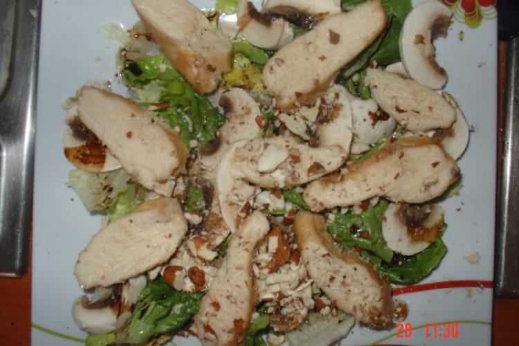 Salade de poulet mariné vapeur
