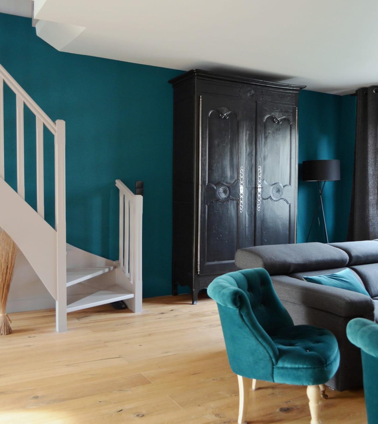 peinture bleu canard eleonore d co. Black Bedroom Furniture Sets. Home Design Ideas