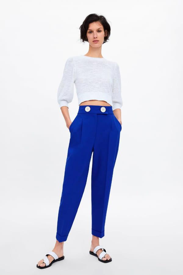 pantalon zara femme taille haute
