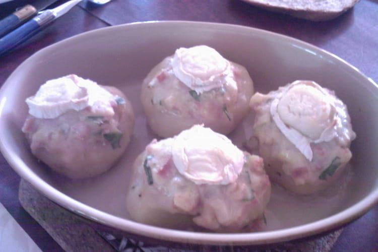 Pommes de terre farcies au jambon et au chèvre