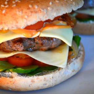 burger au fromage et oignons caramélisés