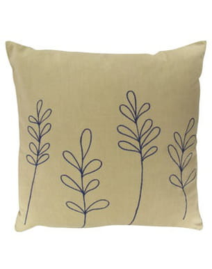 coussin brodé motif feuillage de botanic
