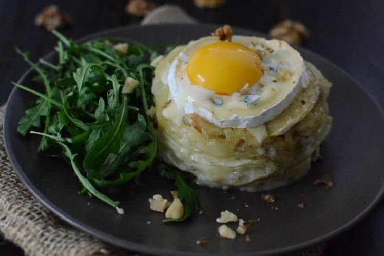 Millefeuille de pommes de terre au Bresse Bleu