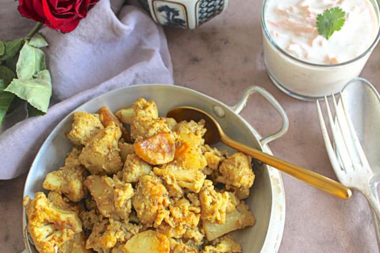 Curry indien sec de pommes de terre et chou-fleur, Aloo Gobi