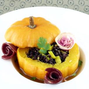 courge, riz noir vénéré, carotte jaune et magret