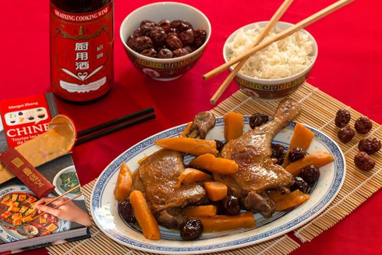 Canard au vin de riz et à la patate douce