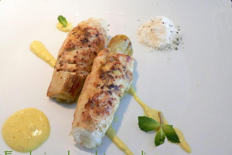 Escalopines de poulet aux endives, sauce au curry