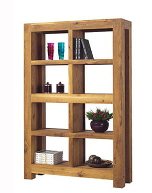 biblioth que en bois brut. Black Bedroom Furniture Sets. Home Design Ideas