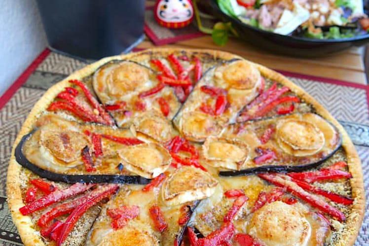 Recette de tarte fine aubergine poivron ch vre la recette facile - Cuisiner aubergine rapide ...