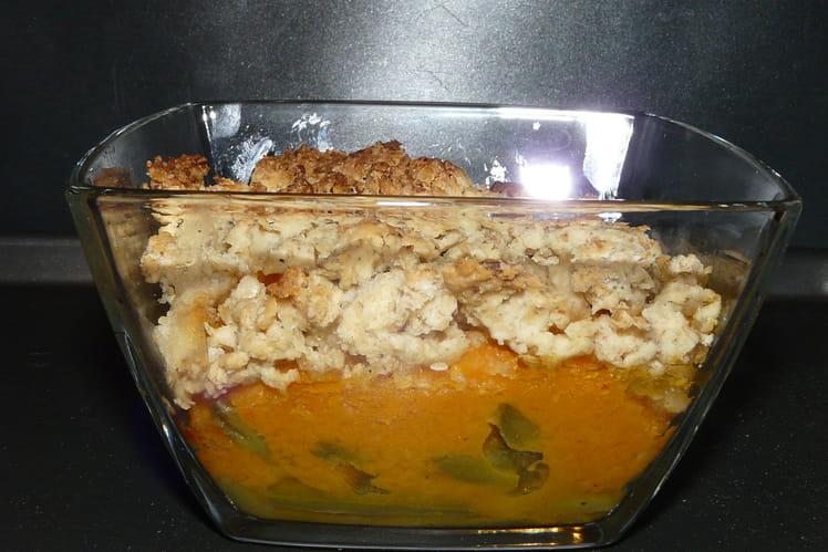 Crumble de butternut et haricots verts aux flocons