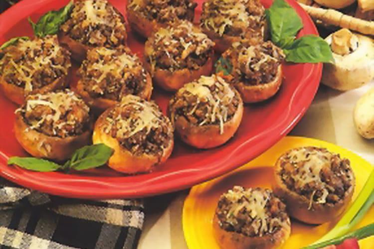 Champignons farcis au jambon, olives noires et mozzarella