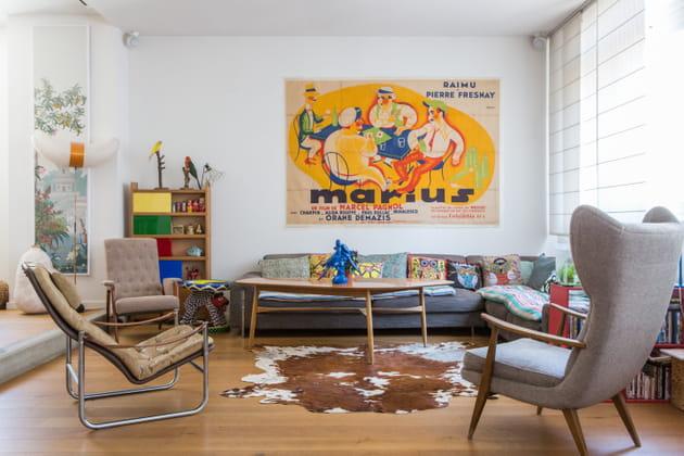 Un salon arty et vintage