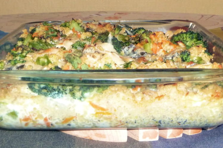 Gratin de boulghour brocolis, carottes
