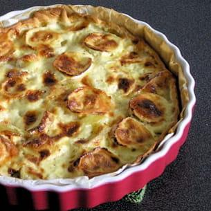 tarte au fromage de chèvre et aux pommes de terre