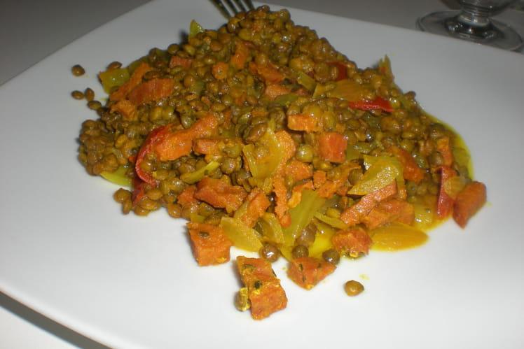 Lentilles vertes du Berry aux tomates et aux lardons