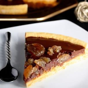tarte à la crème de marrons, chocolat et marrons glacés