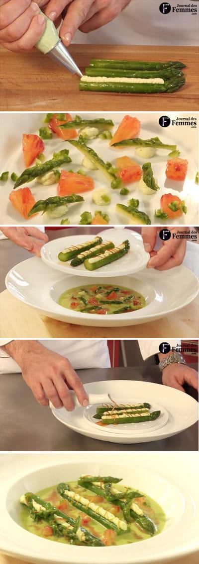 dressage final de la soupe d'asperges vertes