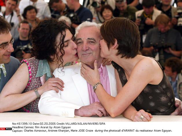 Avec Arsinee Khanjian et Marie-Josée Croze à Cannes pour ARARAT d'Atom Egoyan, 2002