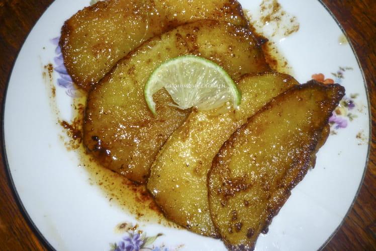 Escalopes de mangues caramélisées au rhum