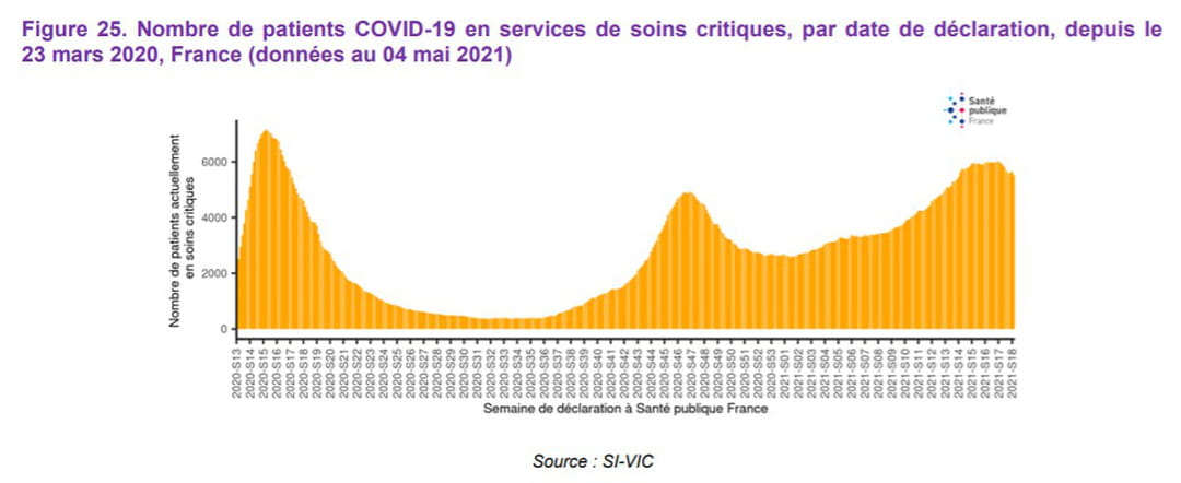 courbe des patients covid en réanimation en france