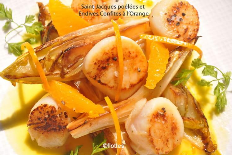 Saint-Jacques poêlées et endives confites à l'orange