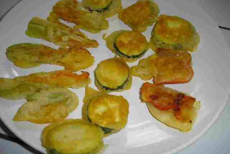 Beignets de légumes et de fleurs de courgettes