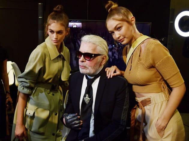 Kaia Gerber, Karl Lagerfeld et Gigi Hadid au défilé Fendi