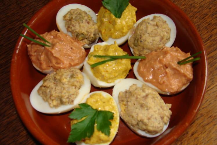 Oeufs mimosas thon, sardine, câpres, curry et safran