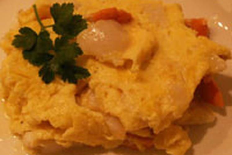 Omelette aux noix de St-Jacques et huile parfumée
