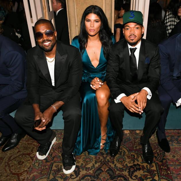 Kanye West, Kirsten Corley et Chance The Rapper au défilé Ralph Lauren