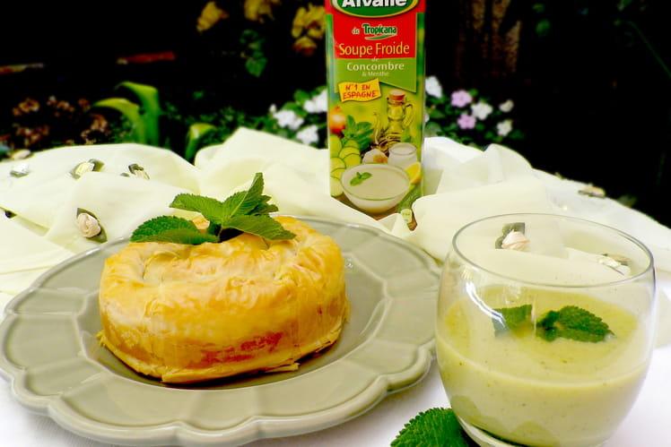 Soupe Froide de Concombre & Menthe Alvalle et feuilleté spirale au payoyo à la menthe