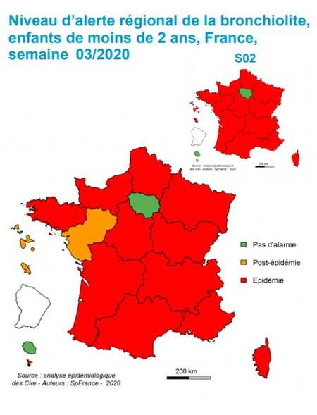 Carte de France bronchiolite