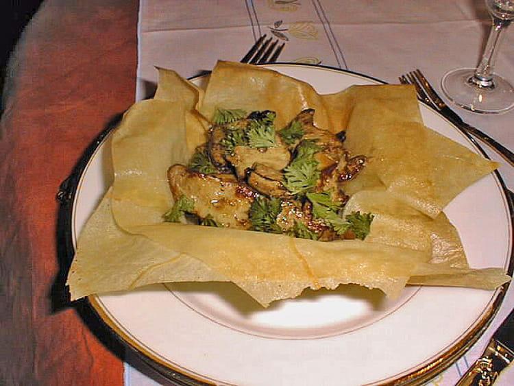 Recette de Croustillant de foie gras aux champignons des bois