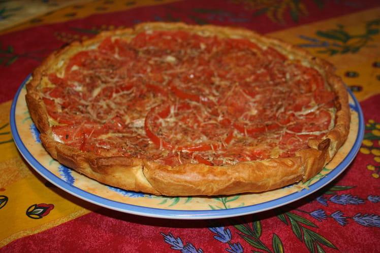 Tarte à la tomate, miel et moutarde