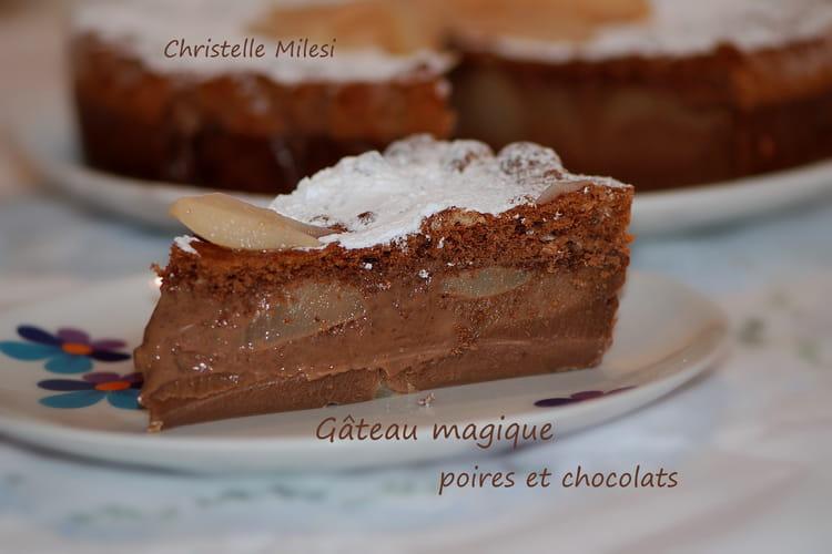 Gâteau magique poires et chocolats