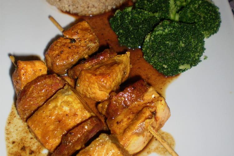 Brochettes de saumon et chorizo