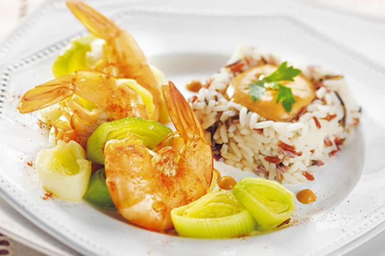 Gambas flambées aux trois riz, sauce homardine