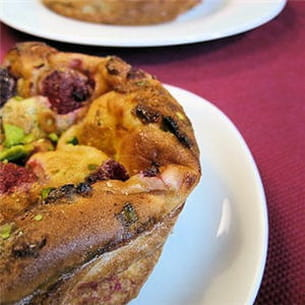 clafoutis framboises pistaches