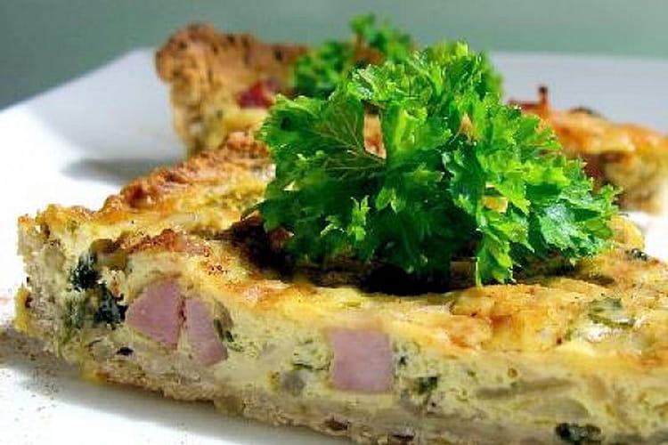 Tarte aux oignons, jambon et persil