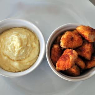 nuggets maison au parmesan et purée moelleuse