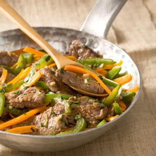 poêlée de boeuf mariné aux légumes croquants
