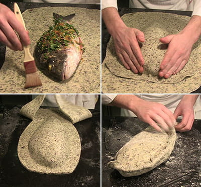 mettre la dorade dans la pâte à pain et cuisson