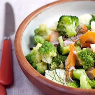 salade tiède aux trois choux et haddock